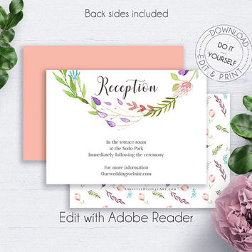 Floral Wreath DIY Reception Cards, Wedding, Customize, Boho, Insert Card, Printable Details, Wedding Details,Reception Insert,Reception Info