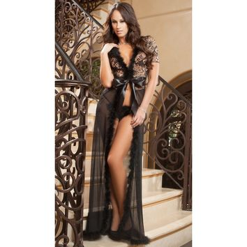 Seductively sheer ankle length, long marabou trimmed Robe with matching g-string