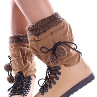 TAN TALL LACE POMPOM WATER RESISTANT SNOW BOOTS