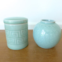Asian celadon ginger jar and tea canister
