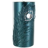 "3"" x 6"" Teal Candle with Metallic Teal Feather 