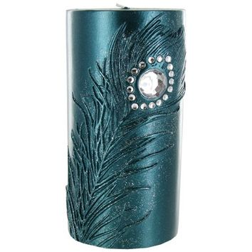"""3"""" x 6"""" Teal Candle with Metallic Teal Feather 