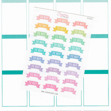 27 To Buy, header stickers, shopping, grocery, banner, task, chore, list, to do, MDN, rainbow, pastel, functional planner stickers, HDR6