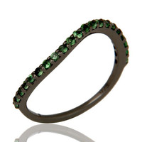 Tsavourite Black Oxidized Sterling Silver Band Ring