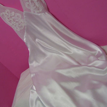 White Satin, Old Hollywood, Full Sweep, Sheer Chiffon, Long Night Gown, Size Small, Nightgown Eve Stillman, Honeymoon, Sexy Sleepwear