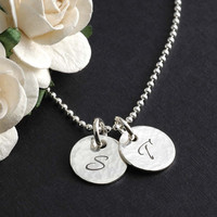 Hand Stamped Jewelry - Two Tiny Personalized discs - 11mm - Initial Necklace - Hammered