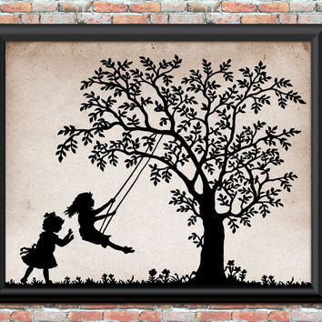 Children Swinging Tree Art Print Primitive Rustic Nursery Home Decor Wall Art Junk Journal Cover Feedsack Printable Digital Download