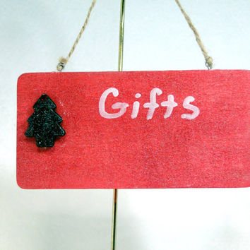 In Stock Chalkboard Sign Ornament Wall Hanging Hand-Painted Red Wood with Christmas Tree and Jute String Holiday Decor