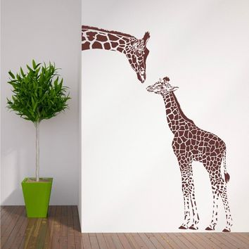 ZN  N194 GIRAFFE AND BABY GIRAFFE Wall sticker animals vinyl Wall Art Nursery Girl Wall Sticker Wall Stickers for Kids Room