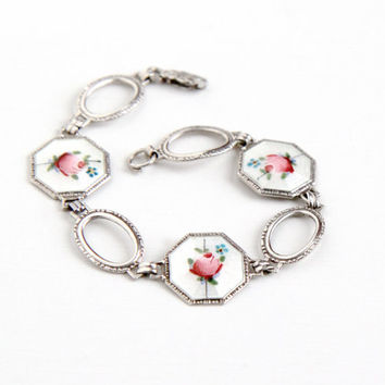 Vintage Sterling Silver Art Deco White & Pink Enamel Flower Bracelet - Vintage 1930s Floral Rose Guilloche Web Panel Filigree AEF Co Jewelry