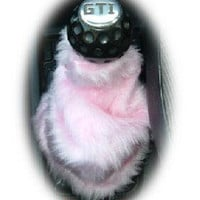 Cute Baby pink fluffy fuzzy gear stick gaiter cover girly girl car accessories