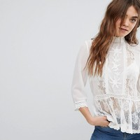 New Look Lace Insert Peplum Blouse at asos.com