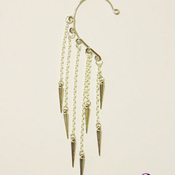 Silver Spikes Ear Cuff by GianneCREATIONS on Etsy