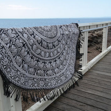 Bohemian Beach Throw, Mandala Roundie