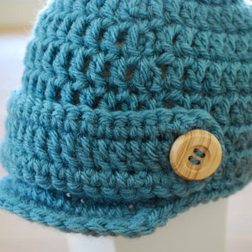 Baby Boy Newsboy Hat in Blue with Wooden Buttons by MaddyMade