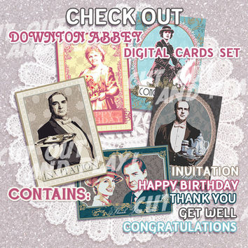 Downton Abbey printable Invitation cards, Thank You - Anna and Mr Bates, ready to print digital greeting card, party supplies JPG, PDF