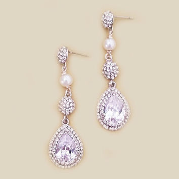 Tear Drop Bridal Earrings Wedding Rhinestone CZ Earrings Pearl Drop Crystal