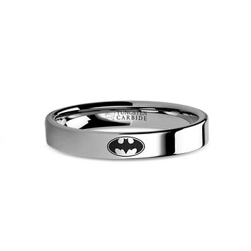 Batman Symbol Laser Engraved Tungsten Wedding Ring, Flat