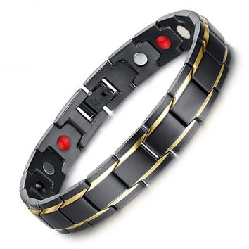 Drop-Shipping Black Men's Health Bracelets & Bangles Magnetic H Power Stainless Steel Charm Bracelet Jewelry for Man