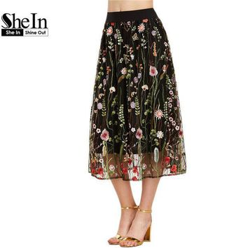 CREYET7 SheIn Bohemian Skirt Women Vintage Long Skirt Ladies Elegant Black Floral Embroidered Mesh Overlay A Line Midi Skirt