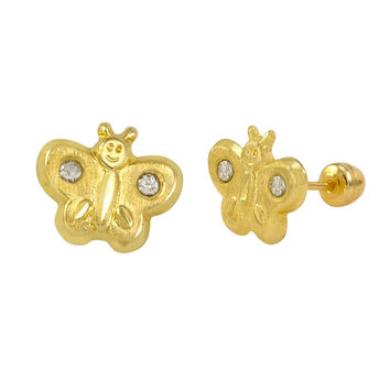 10k Yellow Gold Earrings Butterfly Studs with Screwbacks