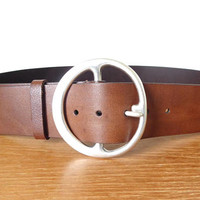 Silpada wide brown leather belt with freeform silver buckle, size L, in excellent condition