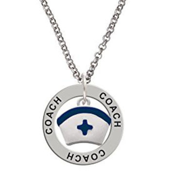 Nurse Hat with Blue Cross Coach Affirmation Ring Necklace