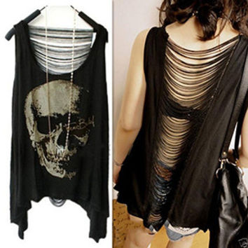 2015 Charming New Women T shirts Skull Punk Singlet Dress Vintage Tank Pop Sexy Top Long Tee T-Shirt