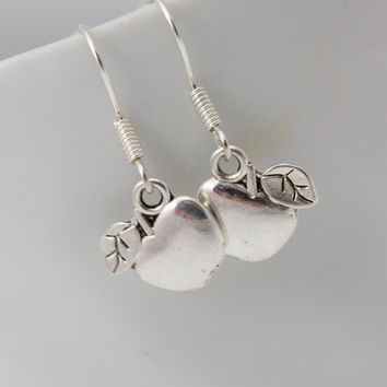 Silver Apple Earrings - Teacher Appreciation Jewelry, Teacher Thank You Gift