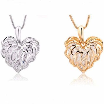 """Gold OR Silver Crystal Filled Filigreed Heart 1.5""""Pendant Statement 22"""" Necklace"""