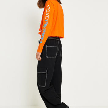 UO Utility Contrast Stitch Puddle Trousers | Urban Outfitters