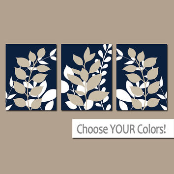 Navy Beige Wall Art, Bedroom Pictures, Leaves CANVAS or Prints Leaf Bathroom Artwork, Foliage Pictures, Flower Art, Set of 3 Home Decor