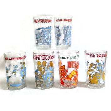 Vintage Archie Comics Drinking Glasses-Warner Bros-Bugs Bunny-Sabrina-Welch's Jelly Jar-Set of 6-Collectible-Comic Books-Cartoon