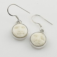 Carved Camel Bone Face Earrings
