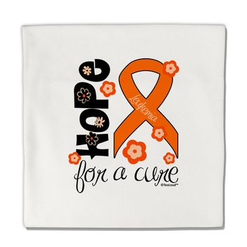 "Hope for a Cure - Orange Ribbon Leukemia - Flowers Micro Fleece 14""x14"" Pillow Sham"