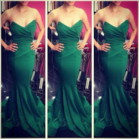 Green Strapless Ruched Mermaid Dress