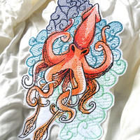 Large Tattoo-Style Giant Squid Embroidered Patch