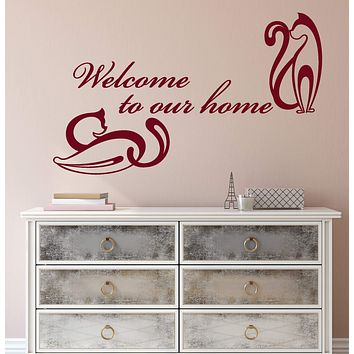 Vinyl Wall Decal Words Quote Welcome To Our Home Abstract Cats Stickers (2202ig)