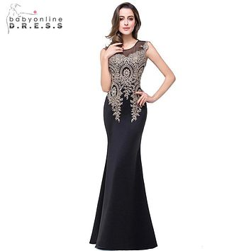 Actual Photo Luxury Black And Burgundy Mermaid Gold Applique Evening Dresses Beaded Crystal 2017 Formal Prom Gown robe de soiree