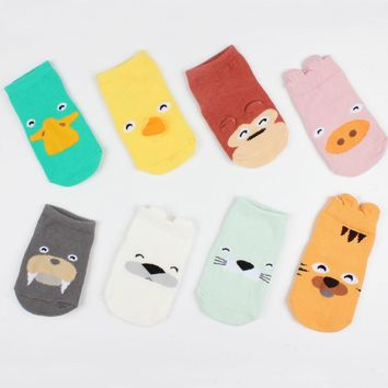 Cotton Newborn Baby Socks Cartoon Floor Newborns Socks Cute Ears Baby Girl Socks Baby Boy Short Socks Solid Foot Warmers
