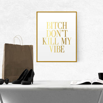 Vinyl Art Words Decor Kendrick lamar Bob Marley Reggae Music Rasta Bitch Dont Kill My Vibe Simple Square Design Quote Decal Sticker Wall