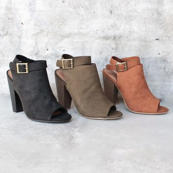 Vegan Suede Wrap Around Ankle Peep Toe Booties   More Colors