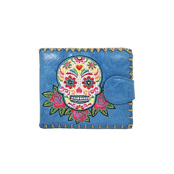 Calavera Sugar Skull Day of the Dead Embroidered Medium Wallet