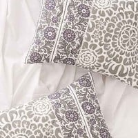 Plum & Bow Lola Woodblock Sham Set- Grey One