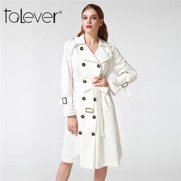 055851b87f0 Talever Autumn Winter Trench Coat for Women Adjustable Waist Slim Solid  Black Coat White Long Trench