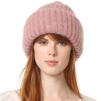 CREYONV WENDYWU 2017 new fashionable pink cute hat lady casual hat winter warm soft female knitting hat