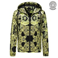 Versace Tide brand 2018 autumn and winter new men's palace print hooded cardigan casual thin coat