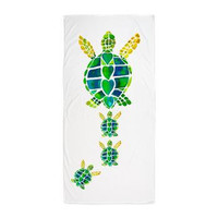 Sea Turtle Family Beach Towel - Summer, surf , surfer, sea life, undersea, boat, pool, beach, shower, lake, gift, bride