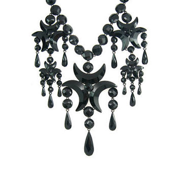 Victorian Necklace. Black Vauxhall Glass French Jet Fringe Choker. Early Japanned Enamel Metal. Antique 1800s Victorian Mourning Jewelry