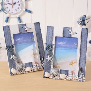 3*5inch Fashion Mediterrean Style Wood Photo Frame Vintage Shells Ornaments Photo Frames Home Accessories Wooden Picture Frames